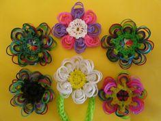 Rainbow Loom Peacock Flower Pendant Charm by Lovely Lovebird Designs