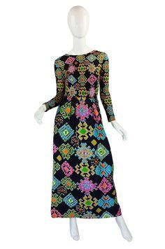 1960s Rare Lanvin Multi Color Maxi Dres