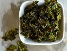 Kale Chips. I did mine with low sodium soya sauce and a dab of sesame oil. Very tasty, even though I forgot to remove the tough stems. Next time I won't forget.