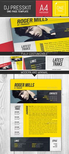 Dj / Musician OnePage Press Kit / Resume Template  #techno music #hardcore music #8.27x11.69 • Click here to download ! http://graphicriver.net/item/dj-musician-onepage-press-kit-resume-template/9405869?s_rank=575&ref=pxcr