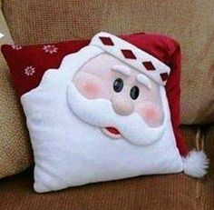 cute pillow--but change expressionI LOVE this Santa Pillow - and I don't usually do Christmas!Workshop of Mimes of Quelsfs: November should make this for Pierce Christmas Sewing, Noel Christmas, Christmas 2019, All Things Christmas, Christmas Ornaments, Christmas Projects, Felt Crafts, Holiday Crafts, Christmas Cushions