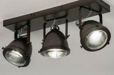 Nieuw! Stoere, plafondlamp / wandlamp voorzien van drie spots. Deze stoere spots laten zich gemakkelijk richten en zijn zowel draai- als kantelbaar. Het armatuur oogt stoer en industrieel. De matte, zwart / bruine kleur past perfect in het trendbeeld van nu! Deze spots zijn voorzien van een GU10 aansluiting en hierdoor erg geschikt voor gebruik met vervangbaar led Aluminium, Track Lighting, Ceiling Lights, Design, Home Decor, Cool Lamps, Interior Lighting, Spot Lights, Metal