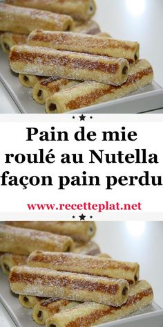 Pain de mie roulé au Nutella façon pain perdu I had eggs and sliced ​​bread that were going to be Desserts With Biscuits, Köstliche Desserts, Dessert Recipes, Turtle Cheesecake Recipes, Kreative Desserts, Rolled Sandwiches, Lemon And Coconut Cake, Mini Foods, Beignets
