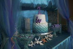 "Amazing ""Under the Sea"" party - how gorgeous is this scalloped ombre cake?! #kidsparty #"