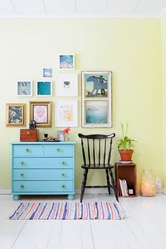 #blue painted chest #eclectic frame collection to make a cute furniture vignette