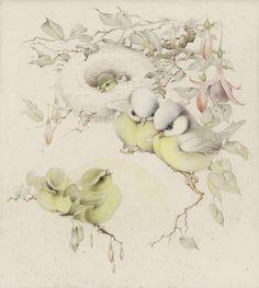 EDWARD JULIUS DETMOLD (English 1883 - 1957). Birds in a Nest, c. 1915 by sofi01, via Flickr