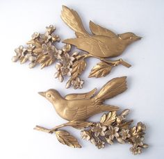 vintage pair birds dogwood wall hanging by RecycleBuyVintage, $36.00