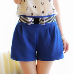 Elegant Bowknot Embellished Solid Color High-Waisted Shorts For Women http://www.trendsgal.com/
