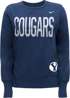 BYU Bookstore - Nike Ladies Fitted Cougars Crew Neck BYU Sweatshirt