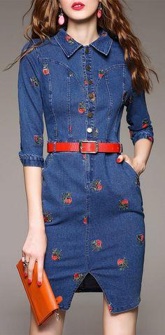 Floral Embroidered Shirt Denim Dress