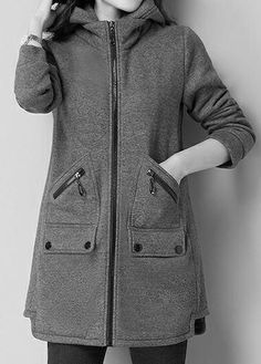 Hooded Collar Zipper Up Pocket Grey Coat. Grey Coats For Women, Jackets For Women, Clothes For Women, Mode Mantel, Fall Outfits For Work, Mode Hijab, Trendy Fashion, Fashion Trends, Coat Dress