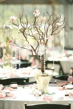 Table Centerpiece Idea.  Pinned by Afloral.com from https://www.etsy.com/listing/173980731/similar?ref=error_page_redirect ~Afloral.com has manzanita, spring blossoms, crystals and more for your DIY party ideas.