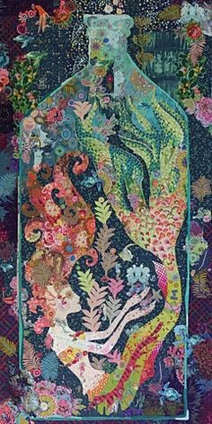 "Sirene collage quilt pattern,  44 x 72"", by Laura Heine 