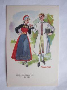 Holger Roos, Vingåker - Par i folkdräkt Folk Costume, Costumes, Swedish Fashion, Stockholm, Sweden, Painting, Historia, Dress Up Clothes, Fancy Dress