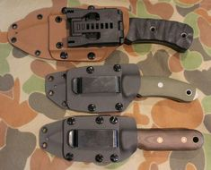 Three kydex knife sheaths by Custom Tactical Sheaths in Sydney. Top with a Tek-lok and the next two with custom spring clips and kydex plate