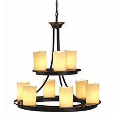 Contemporary Allen + Roth 9-light Oil Rubbed Bronze Chandelier Faux Candle Modern Lighting Home Bedroom Kitchen Bathroom Dining Ceiling Light Fixture