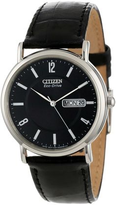 "Citizen Men's BM8240-03E ""Eco-Drive"" Stainless Steel and Black Leather Watch"