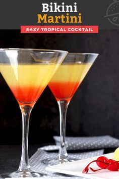 This Bikini Martini Cocktail with fruity tropical flavors and beautiful colorful layers is like a sunset in a glass. Made with coconut rum, vodka, grenadine and pineapple juice, this easy to make martini is always a showstopper! #cocktail #vodka #Maliburum Easy Drink Recipes, Best Cocktail Recipes, Sangria Recipes, Drinks Alcohol Recipes, Lemon Recipes, Summer Recipes, Holiday Recipes, Party Food And Drinks, Fun Drinks