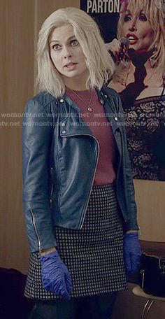 Liv's blue leather jacket and pink short sleeved sweater on iZombie Nerd Fashion, College Fashion, Fashion Outfits, Navy Leather Jacket, Leather Jacket Outfits, I Zombie, Pink Shorts, Knit Skirt, Dream Dress