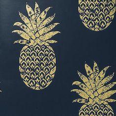 Tobago Ananas Motif Tropical Papier Peint Design Indigo (Bleu) doré & Metalique