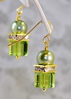 Swarovski Cube Crystal Earrings- Olivine- Olive Czech Pearl Earrings- Handmade Jewelry Gift for Her/Woman - Holiday Wear- Gold