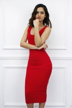 e5c02d69b7 New Womens Ladies Crepe Red Spaghetti Strap Midi Length Party Bodycon Dress.  Glamzam