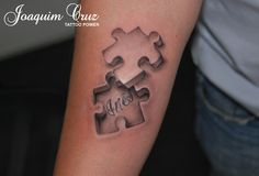 What does puzzle piece tattoo mean? We have puzzle piece tattoo ideas, designs, symbolism and we explain the meaning behind the tattoo. Body Art Tattoos, New Tattoos, Sleeve Tattoos, Jigsaw Tattoo, Outlaw Tattoo, Puzzle Tattoos, Autism Tattoos, Paar Tattoo, Biomechanical Tattoo