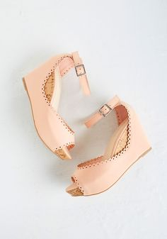 Sweetheart And Sole Wedges - Mid, Faux Leather, Pink, Solid, Daytime Party, Beach/Resort, Pastel, Platform, Wedge, Peep Toe, Good