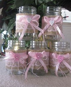 5 Burlap and Lace Mason Jar Sleeves with ribbon by DesignsByMsDee on Etsy
