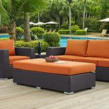 Modway Furniture Modern Convene Outdoor Patio Fabric Rectangle Ottoman EEI-1847 Gather stages of sensitivity with the Convene outdoor sectional series. Made with a synthetic rattan weave and a powder-