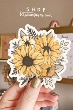 Dress up your laptop, water bottle, or car window with this sunflower florals sticker! 3 or more individual stickers to get off your sticker order with code Sunflower Drawing, Sunflower Art, Cute Stickers, Happy Stickers, Sunflower Illustration, Textile Pattern Design, Minimalist Drawing, Sunflower Wallpaper, Floral Illustrations