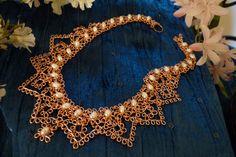 Copper lace choker
