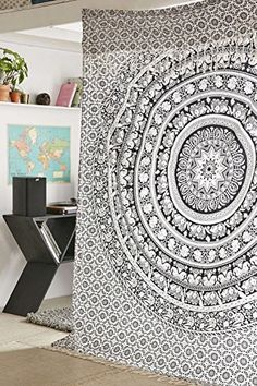 Gypsy Wildflower Mandala Tapestry Wall Hanging Indian Mandala Ombre Hippie Bohemian Boho Large Throw Cotton Bed Sheet Wall Hanging Tapestry Queen Double Kingsize 210x240 (1 Bedsheet with Two Pillow) >>> For more information, visit image link.