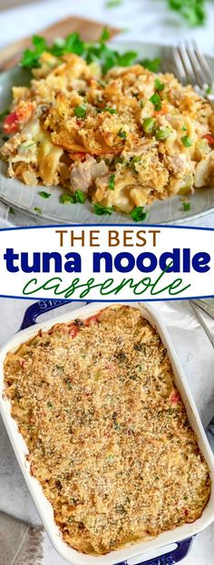 The Best Tuna Casserole is SO easy to make! Made with a simple from scratch sauce, egg noodles, tuna, peas and a crunchy Panko-Parmesan topping, this … - Site Best Tuna Casserole, Tuna Casserole Recipes, Casserole Dishes, Homemade Tuna Noodle Casserole Recipe, Fish Casserole, Fish Recipes, Seafood Recipes, Cooking Recipes, Healthy Recipes