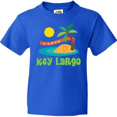 I Love Key Largo Florida Youth T-Shirt Royal Blue $18.99 www.cutecitytees.com