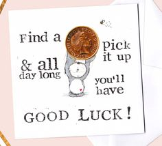 Good Luck Card, Find a penny pick it up, Panda Card, Exam Card, Graduation Card, Cute Well done Card, For Her, For Him, Penny, Queen, UK by BEEautifulcreatures on Etsy