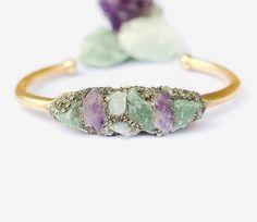 Raw Stone Cuff Bracelet -Amethyst - Aquamarine