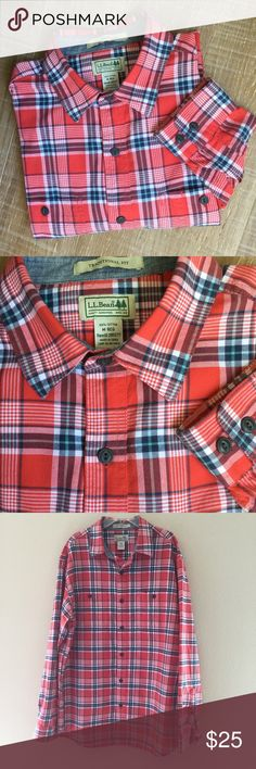 """🎉HP L.L. Bean Flannel Lumberjack Plaid Shirt L.L. Bean Flannel Lumberjack Plaid Shirt, Size M-Reg. Traditional Fit: relaxed through the chest, sleeve, and waist. 100% cotton. **Second photo show color best. Two front pockets, long sleeves. Measurements flat--chest: 23"""", sleeve: 25.5"""", length: 31"""". Excellent condition, no flaws. Smoke free home. Cozy for cooler temps. L.L. Bean Shirts Casual Button Down Shirts"""