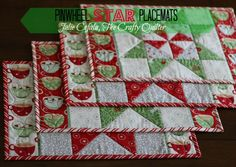 The Crafty Quilter- Pinwheel Star Placemats #christmas #star