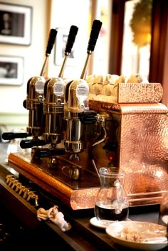 Gorgeous copper Victoria Arduino Expresso Machine like the one used at Maine Coast Book Shop's Cafe