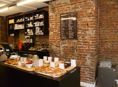 red brick, dark counter   Department of Coffee and Social Affairs – Clerkenwell, London