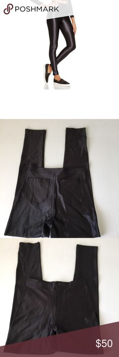 American Apparel Black Disco Pant, S American Apparel Black Disco Pant in size Small. These are the original Disco Pant and are in excellent condition. According to American Apparel sizing, these best fit a size 2 or 25/26 waist. Flat lay measure of of the inseam is approximately 27, and the rise is approximately 11. Made from 90% Nylon and 10% elastane. Please look at all photos and ask if you have any questions. American Apparel Pants Skinny