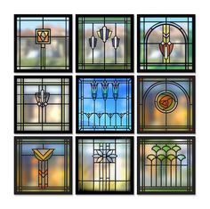 9 Windows - Arts & Crafts - Craftsman - Bungalow - Home - Detail I would like to have some art glass in the kitchen - our kitchen sink windows look directly into our neighbors yard/house and I really hate the idea of curtains near my sink (or in the kitc