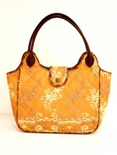 Embroidery Amber Exclusive fabric Tote Bag by Thai Luxury Handmade Unique Silk Fabric Tote Bags Tote Bags Handmade, Handmade Handbags, Fabric Tote Bags, Gold Handbags, Leather Handle, Silk Fabric, Dust Bag, Fancy, Shoulder Bag