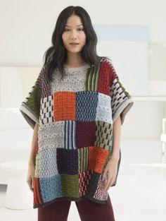 Free Knitting Pattern: Patchwork Poncho - interesting construction!