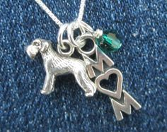 "Sterling Silver Mini Schnauzer Mom Necklace - 16"" chain"