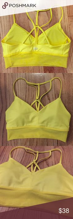 Lush bra by Alo yoga Size xs. The new yellow. Medium support. Love this bra I just have too many. Never been worn. New without tag. Inserts come inside, can remove. ALO Yoga Intimates & Sleepwear Bras