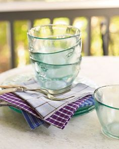 Make napkins from old oxford shirts. From Martha Stewart.