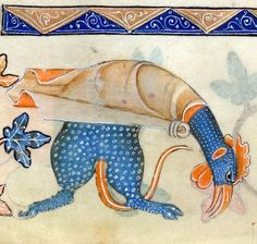 Monster rooster. Luttrell Psalter, England ca. 1325-1340 (British Library, Add 42130, fol. 156v)