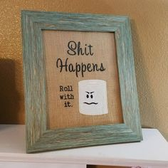 Outstanding Funny Bathroom Sign ~ Shit Happens ~ Roll with it ~ Funny Bathroom Decor, Rustic Bath Decor, White Elephant Gift, Motivational Wall Sign by BeeSewHappyBoutique on Etsy The post Funny . Quirky Bathroom, Funny Bathroom Decor, Bathroom Humor, Bathroom Signs, Bathroom Ideas, Small Bathroom, Bathroom Interior, Burlap Bathroom Decor, Silver Bathroom